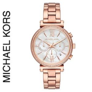 NWT authentic MK Sofie Chrono Mother of Peal Watch